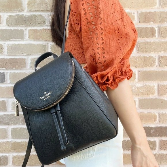 NWT Kate Spade Leather Backpack Black Pebbled Leather